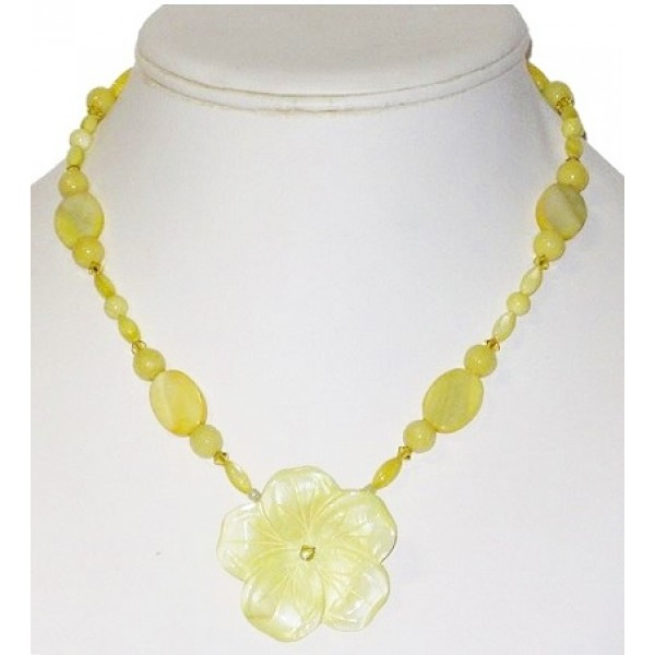 Light Yellow Necklace with Mother-of-Pearl Flower Pendant