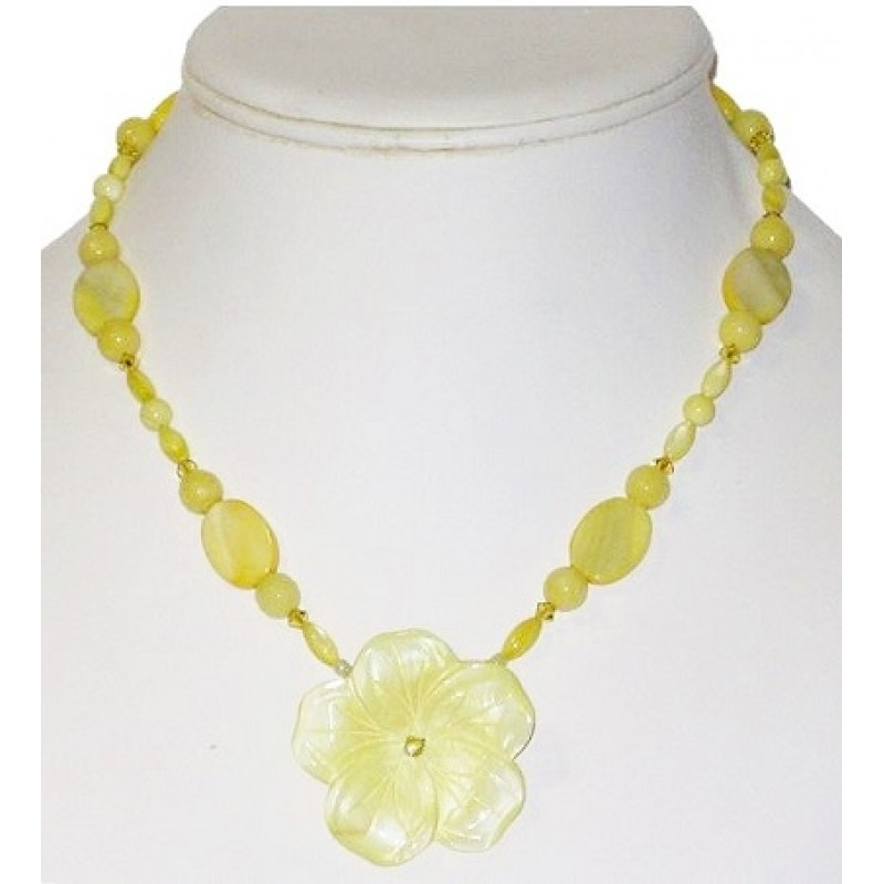 Light yellow flower pendant necklace light yellow necklace with mother of pearl flower pendant mightylinksfo Choice Image