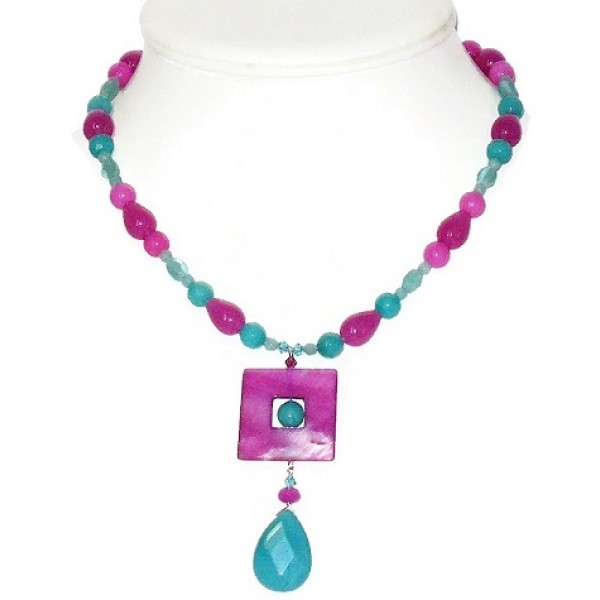Magenta, Orchid and Teal Necklace with Faceted Jade Shell Pendant