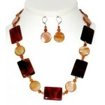Carnelian and Amber Mother-of-Pearl Necklace and Earring Set