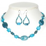 Turquoise and Teal Necklace and Earring Set