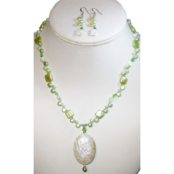Light Green and Off White Necklace and Earring Set