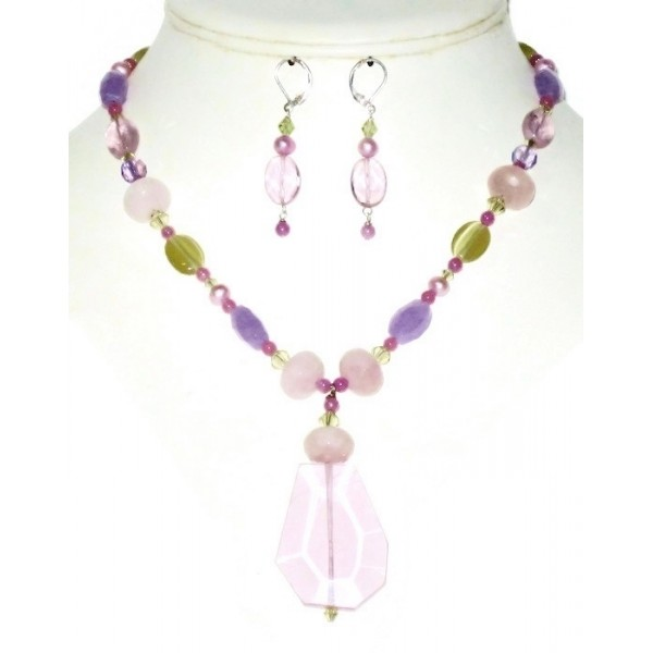 Multi-Colored Necklace with Pink Quartz Faceted Pendant