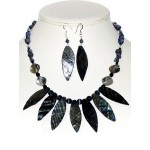 Navy Blue Leaf Shell Necklace and Earring Set