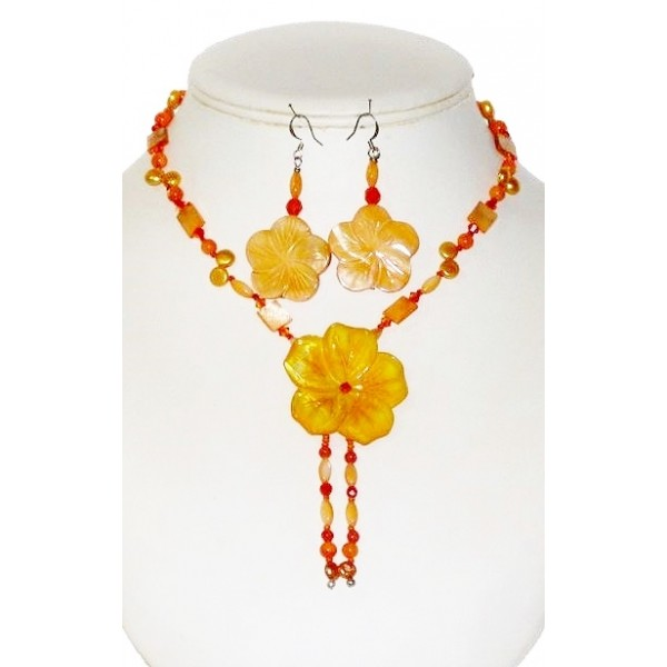 Orange Necklace with Flower Pendant and Matching Earrings