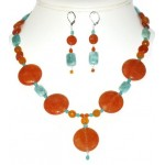 Orange and Blue Green Necklace and Earring Set with Drop Pendant