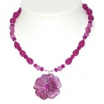 Orchid and Fuchsia Necklace and Earring Set with Flower Pendant