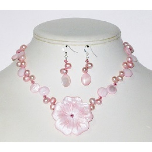 Pink Necklace and Earring Set with Mother-of-Pearl Flower Pendant