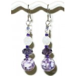 Purple and White Necklace and Earring Set with Briolette Pendant