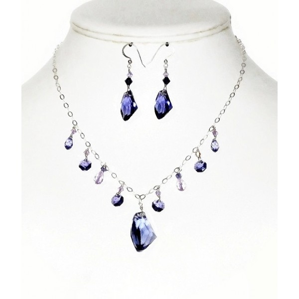 Purple Crystal Sterling Silver Necklace and Earring Set