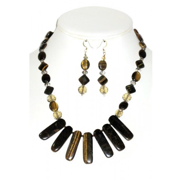 Tiger Eye and Champagne Necklace Set