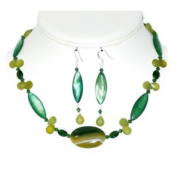 Green and Yellow Necklace and Earring Set