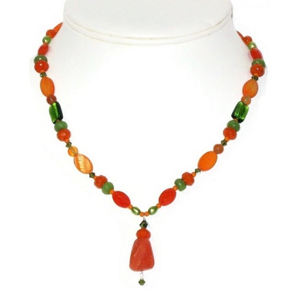 Orange and Olive Green Beaded Necklace with Faceted Jade Pendant