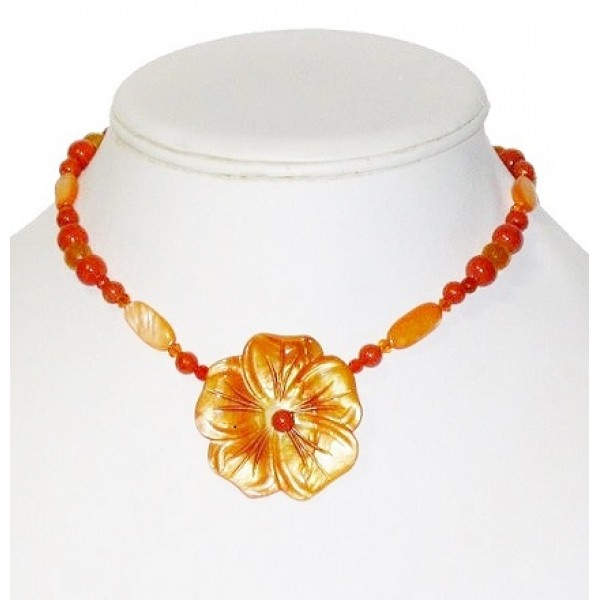 Orange Blend Necklace with Mother-of-Pearl Flower Pendant