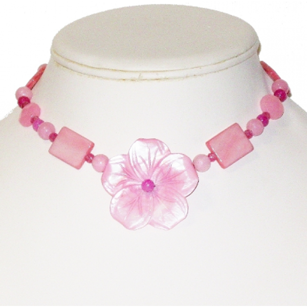 Pink Blend Necklace with Flower Pendant