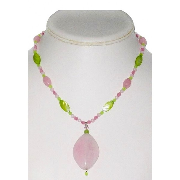 Pink and Apple Green Beaded Necklace with Jade Pendant