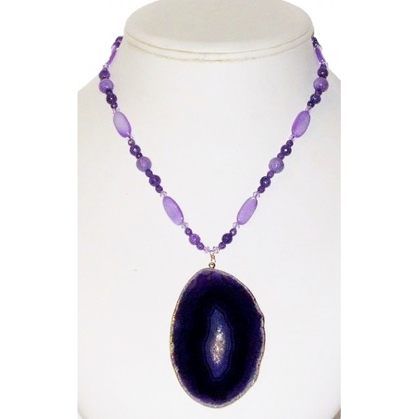 Purple Necklace with Agate Pendant