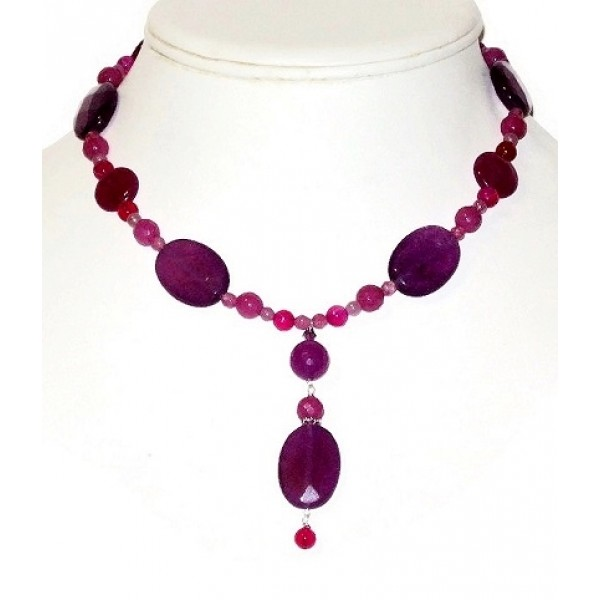 Purple, Fuchsia and Pink Necklace with Drop Pendant