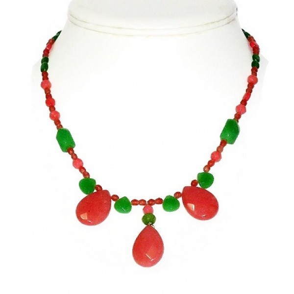 Red Peach, Green and Coral Necklace with Briolette Pendant