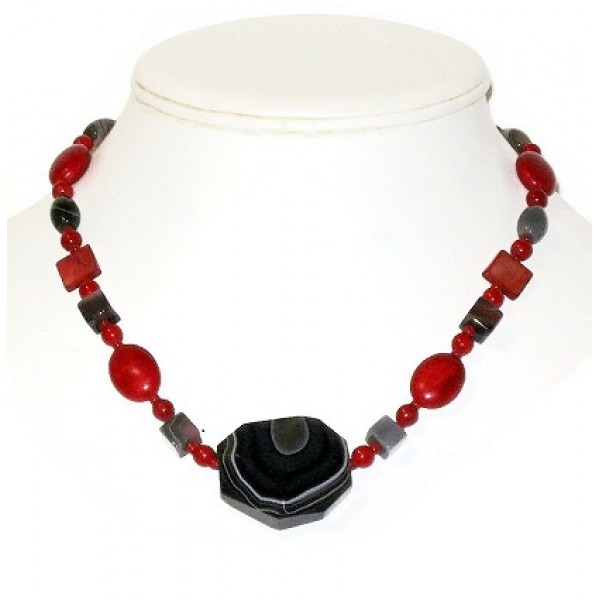 Red and Gray Necklace with Faceted Botswana Pendant