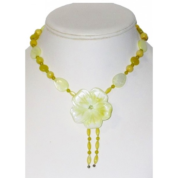 Yellow Necklace with Mother-of-Pearl Flower Pendant