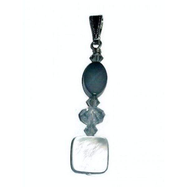 Gray Black Lip Shell and Crystal Pendant