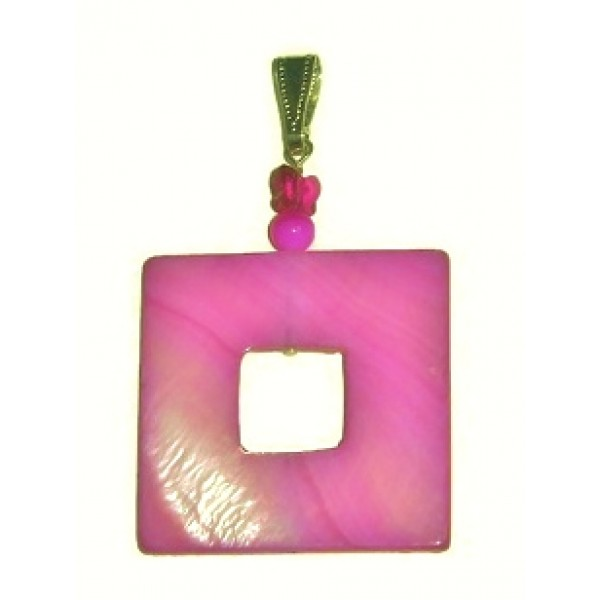 Fuchsia Mother-of-Pearl Square Pendant with Butterfly Crystal