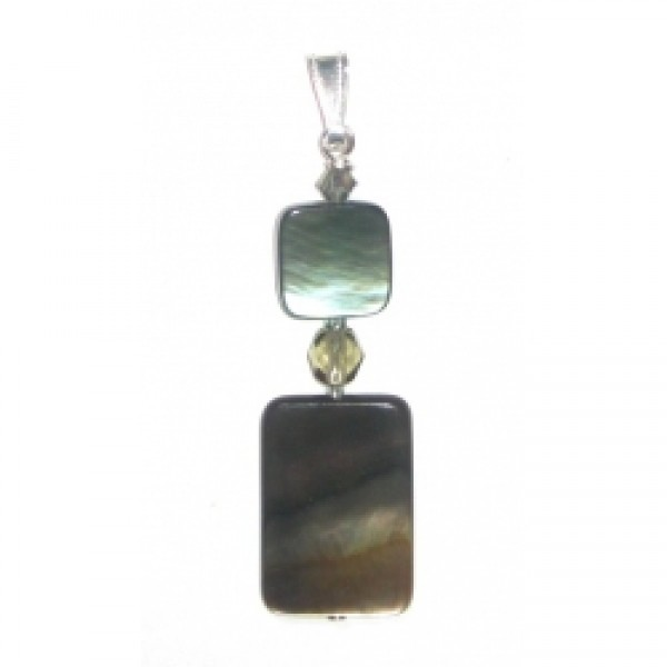 Grey Black Lip Shell Square & Rectangle Pendant