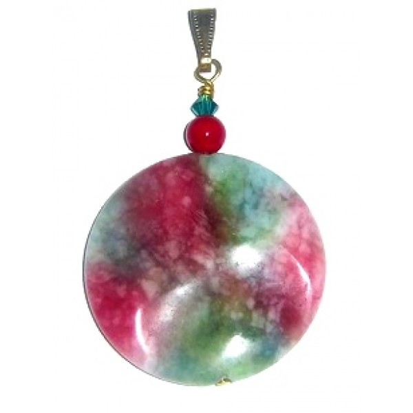 Red,  Green and White Candy Jade Pendant