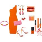 Orange and Rose Pink Earring
