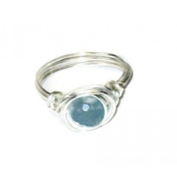 Light Blue Gray Faceted Jade Wire-Wrapped Ring