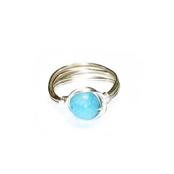 Aqua Blue Jade Wire-Wrapped Ring