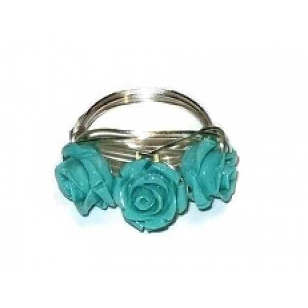 Aqua 3 Flower Wire-Wrapped Ring