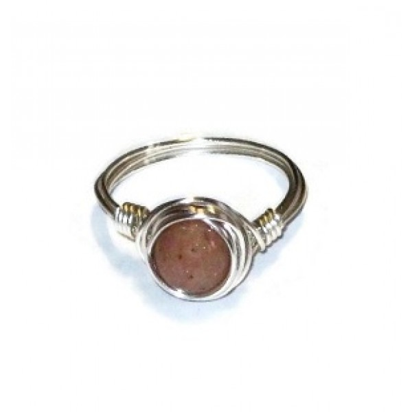 Cappuccino Beige Jade Wire Wrapped Ring