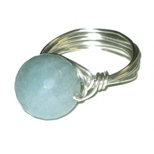 Ice Blue Faceted Jade Wire-Wrapped Ring