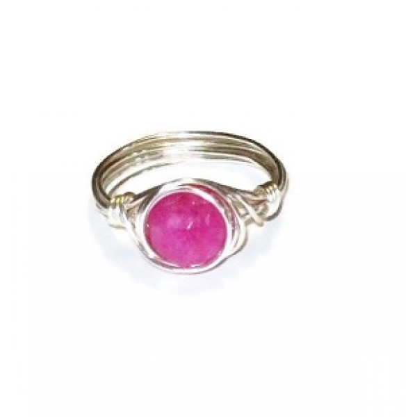 Fuchsia Jade Wire-Wrapped Ring