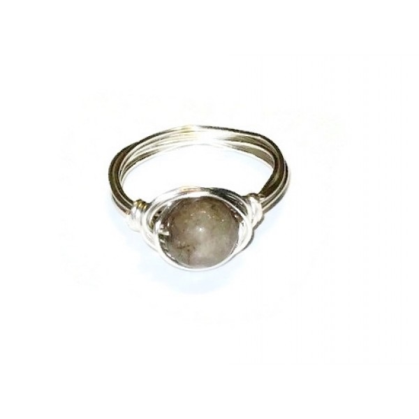 Golden Tan Jade Wire-Wrapped Ring