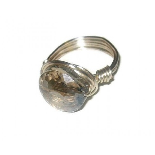 Gray Faceted Crystal Wire-Wrapped Ring