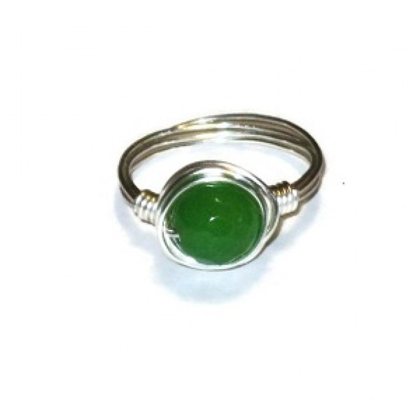 Green Jade Wire-Wrapped Ring