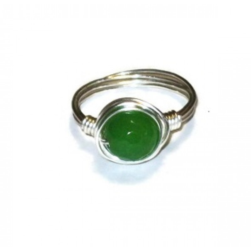 Green Jade Wire Wrapped Beaded Ring