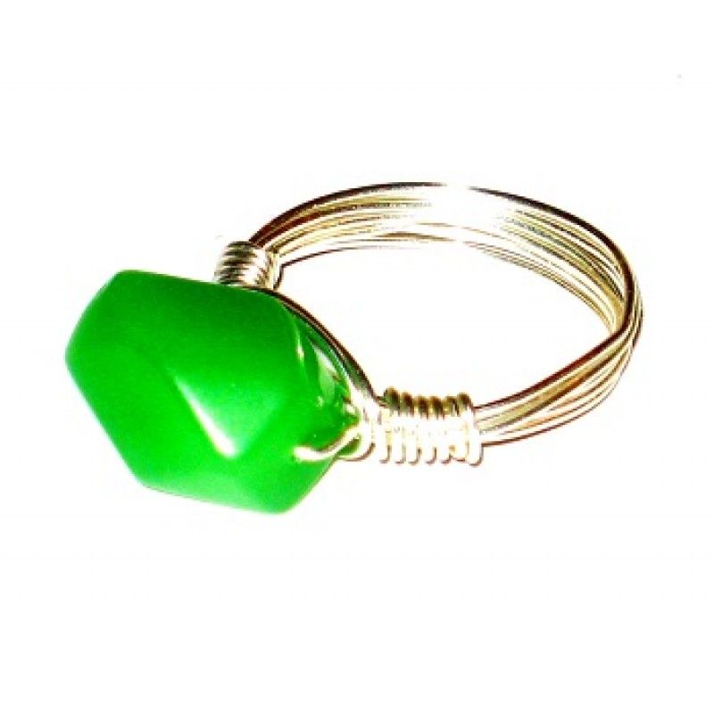 Green Quartz Wire-Wrapped Ring