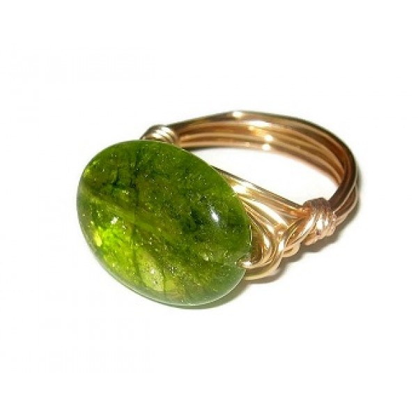 Green Oval Crackle Quartz Wire-Wrapped Ring