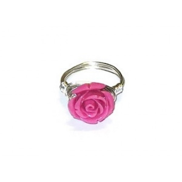 Hot Pink Carved Flower Wire-Wrapped Ring