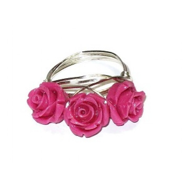 Hot Pink 3 Flower Wire-Wrapped Ring