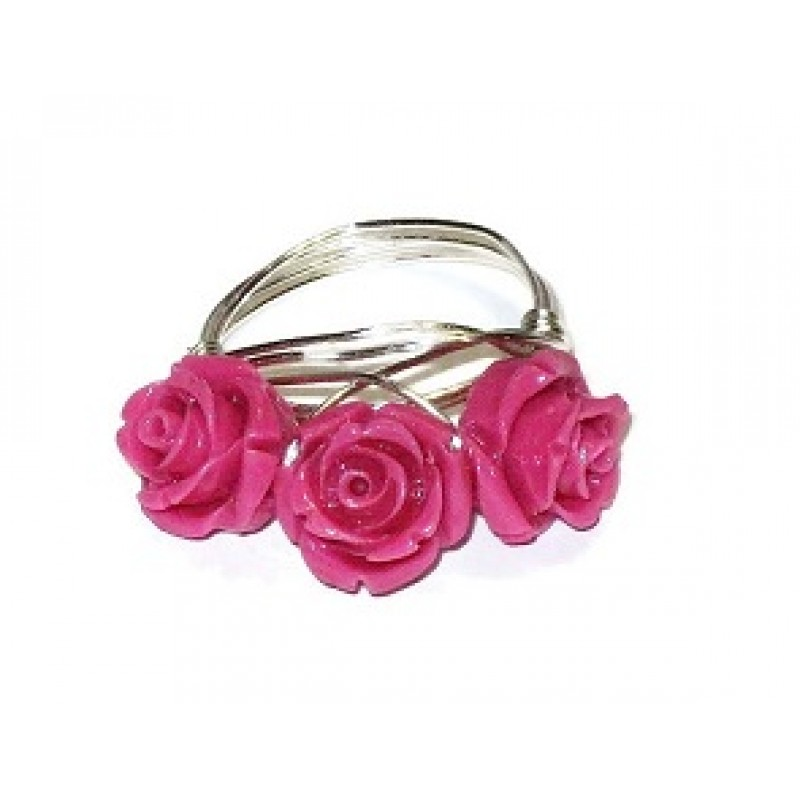 Hot pink three flower ring hot pink 3 flower wire wrapped ring mightylinksfo