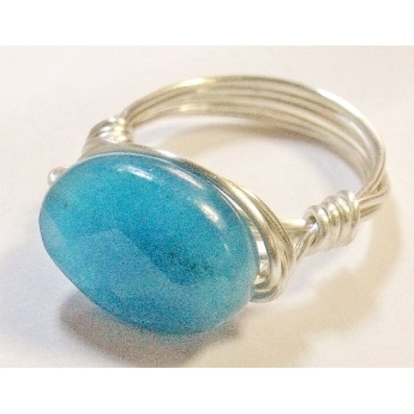 Turquoise Faceted Jade Wire-Wrapped Ring