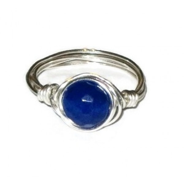 Lapis Blue Jade Wire-Wrapped Ring