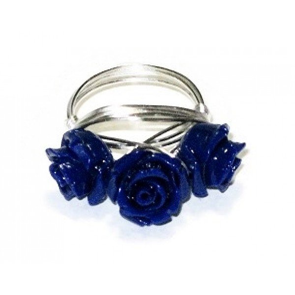 Lapis Blue 3 Flower Wire-Wrapped Ring