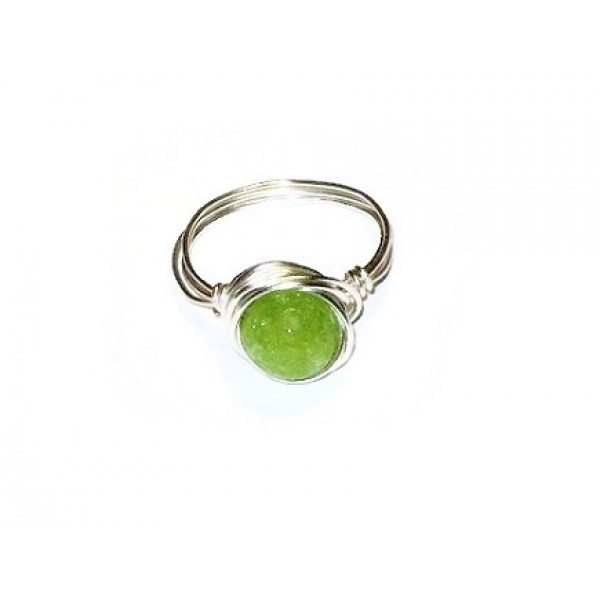 Lime Green Jade Wire-Wrapped Ring