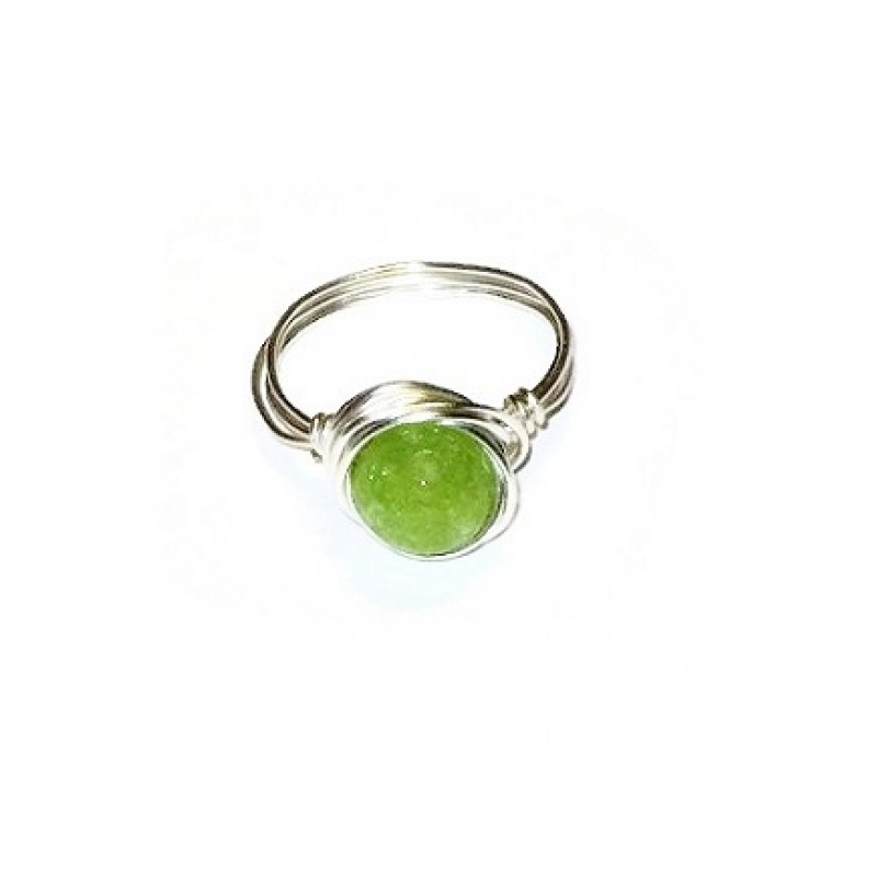 lime green faceted jade ring